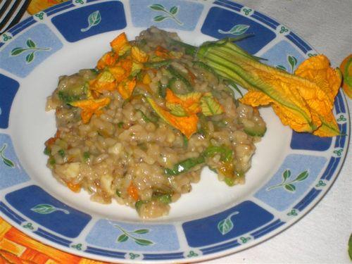 Zucchini flower risotto