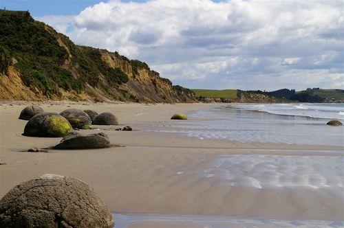 along the boulder beach
